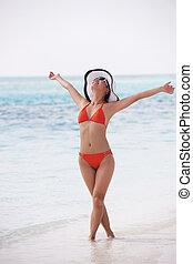 bonito, gril, ligado, praia, divirta