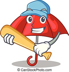 bonito, guarda-chuva, personagem, basebol, tocando, vermelho