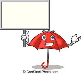 bonito, guarda-chuva, personagem, trazer, tábua, vermelho