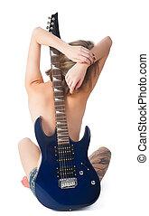 bonito, guitarra, mulher