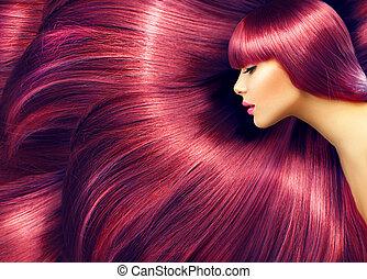 bonito, hair., beleza, mulher, com, longo, cabelo vermelho, como, fundo