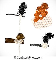 bonito, headbands, penas, isolado, retro, fundo, partido, chapéu branco