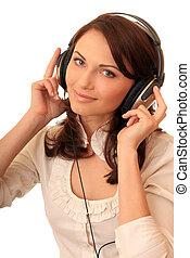 bonito, headsets, menina