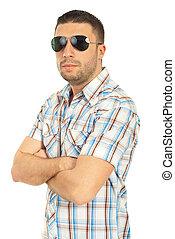 bonito, homem, com, óculos de sol
