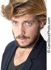 bonito, homem, com, barba, azul, olhos