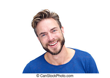 bonito, homem, com, barba, rir
