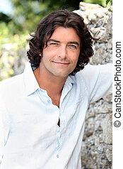 bonito, homem, com, cabelo longo, ficar, por, um, antigas,...