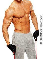 bonito, homem, com, muscular, corporal, fazendo, exercício aptidão