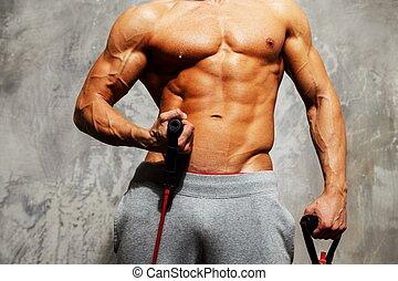 bonito, homem, com, muscular, corporal, fazendo, exercício...