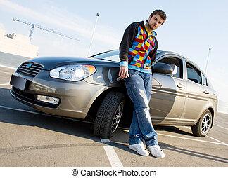 bonito, homem, com, seu, carro novo