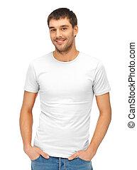 bonito, homem, em, em branco, camisa branca
