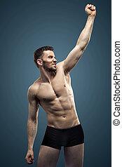 bonito, homem, fazer, a, músculos