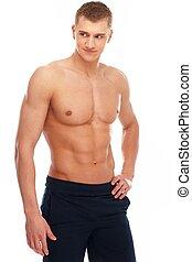 bonito, homem jovem, com, muscular, torso