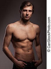 bonito, homem jovem, com, pelado, torso