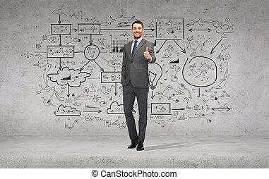 bonito, homem negócios, mostrando, polegares cima