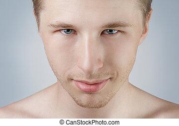 bonito, homem, retrato, com, olhos azuis