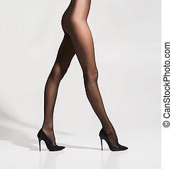 bonito, hosiery, sobre, fundo, branca, pernas