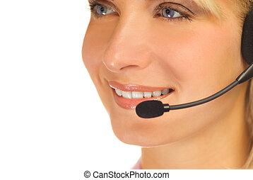 bonito, hotline, operador, com, headset, isolado, branco,...