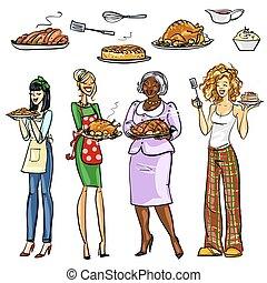 bonito, housewifes, com, refeições