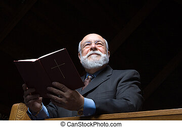 bonito, hymnal, igreja, pew, homem, sênior, caucasiano