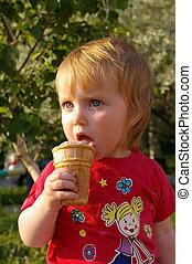 bonito, ice-cream, menina, come