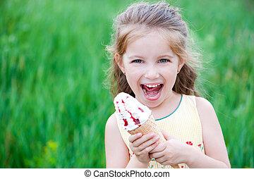 bonito, ice-cream, menininha, come