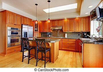 bonito, ilha, chão, hardwood, granito, cozinha