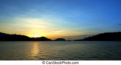 bonito, ilha, sobre, mar, praia, amanhecer