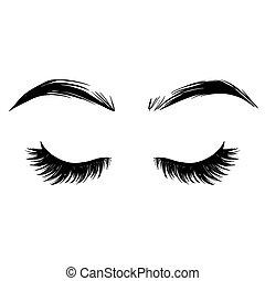 bonito, illustration., chicotadas, vetorial, testas, eyelashes.