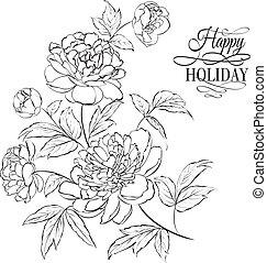 bonito, ilustração, de, peony, flowers.