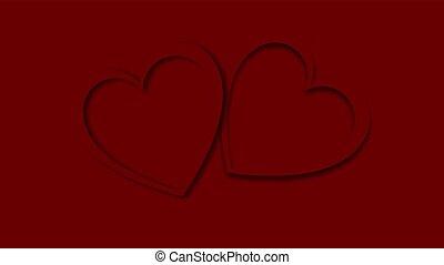 bonito, ilustração, feito, fundo, valentine, abstratos, festivo, dois, space., glowing, papel, vetorial, esculpido, são, corações, cópia, colorido, dia, vermelho, feliz