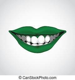 bonito, -, ilustração, woman?s, boca, sorrindo