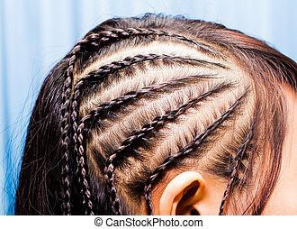 bonito, imagem, cabelo, trança, vista lateral