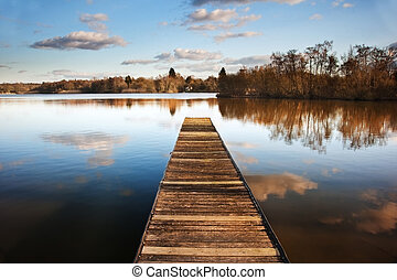 bonito, imagem, de, pôr do sol, paisagem, de, madeira,...
