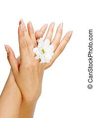 bonito, imagem, mulher, pregos, dedos