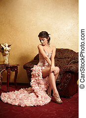bonito, incomum, sentando, poltrona, noiva, casório,...