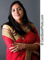 bonito, indianas, mulher