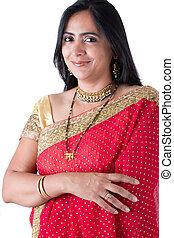 bonito, indianas, mulher, em, um, sari