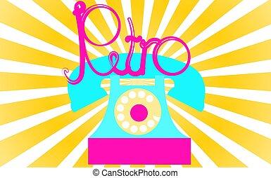bonito, inscrição, letras, amarela, violeta, rays., tubo, vindima, escrito, disco, retro, retro, turquesa, antiga, telefone, fundo, illustration., contra, antigas, antigüidade, vetorial, hipster