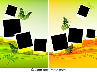 bonito, inserção, colagem, fotografias, desenho, borboletas...