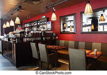 bonito, interior, de, modernos, restaurante