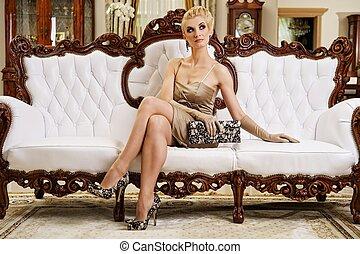 bonito, interior, mulher, luxo, loura