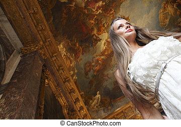 bonito, interior, mulher, palácio