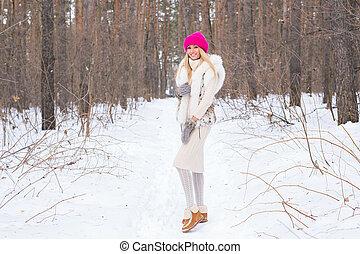 bonito, inverno, conceito, inverno, pessoas, -, parque, neve, mulher jovem, feriados