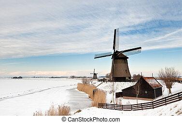 bonito, inverno, moinho de vento, paisagem