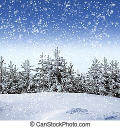 bonito, Inverno, neve, árvores, coberto, paisagem