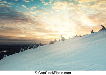 bonito, inverno, pôr do sol, paisagem, em, luosto, finland