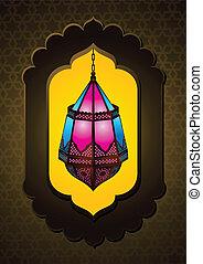 bonito, islamic, lâmpada, arco