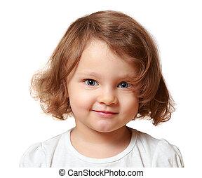 bonito, isolado,  closeup, branca, Retrato, sorrindo, menina, criança