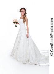 bonito, isolado, luxuoso, noiva, fundo, casório, vestido branco